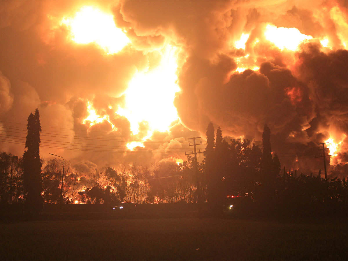 The cause of the fire was not clear, but the company said the blaze broke out during a lightning storm.